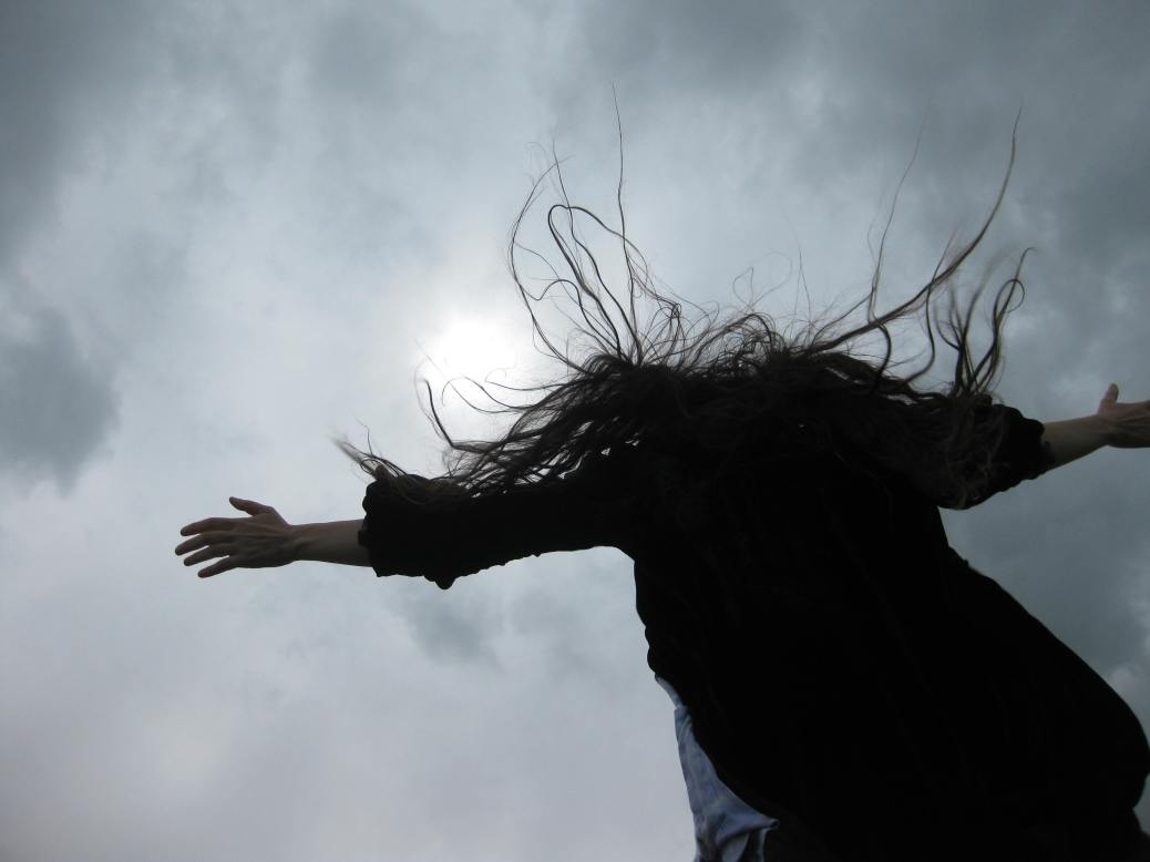 Rabbi Jill Hammer windswept in Ireland